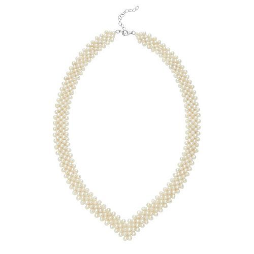 Freshwater Cultured Pearl Sterling Silver V Necklace