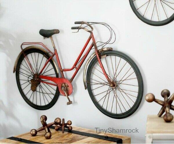 Bicycle Wall Art Metal Bike Vintage Retro Style 38 Hanging Sculpture Red Iron Tinyshamrockusa Vintag Bicycle Wall Art Metal Wall Art Panels Wall Art Crafts