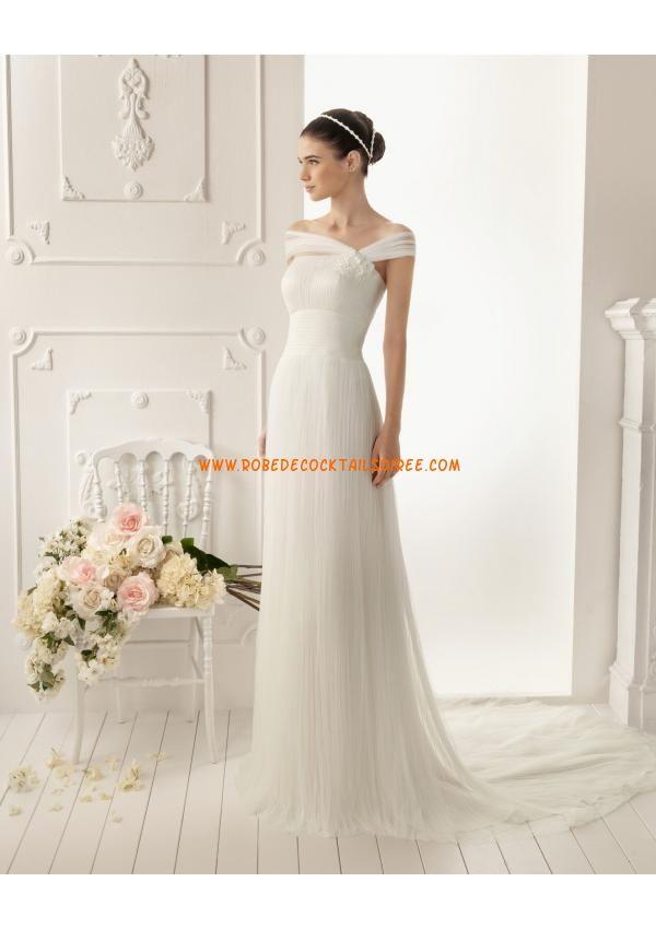 Robe bretelles blanche 2013 pas cher plissé robe de mariée tulle