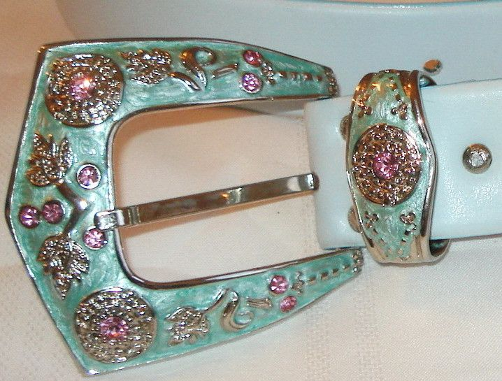 Stephen Collins rare Jeweled Blush Blue Pink Leather rhinestone BELT L M vintage Listing in the Belts & Buckles,Womens Accessories & Bags,Clothes, Shoes, Accessories Category on eBid Canada
