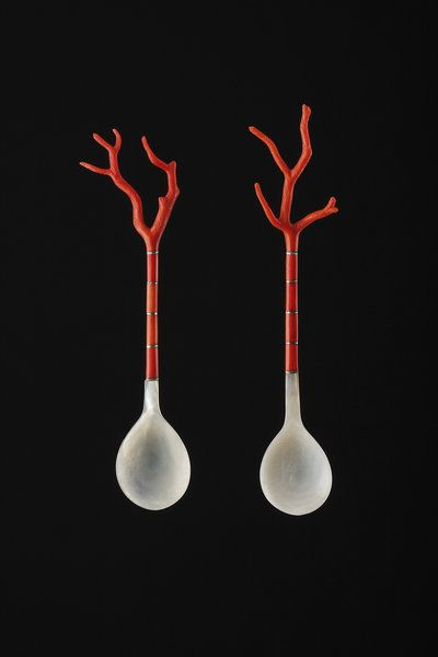 Ottoman Empire (Turkey), Sherbert Spoons, coral/silver/shell, c. 19th c.