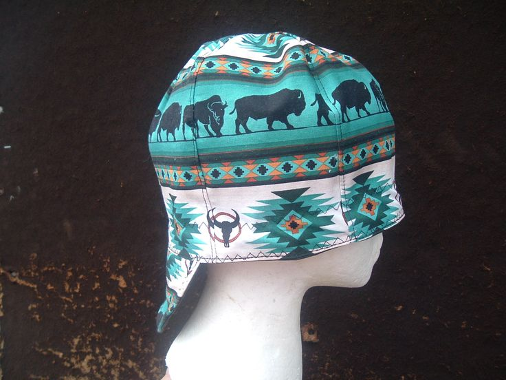 Welding Cap in Buffalo silhouettes on Turquoise. You can buy this cap in your size in eBay or Etsy under Native Welding Caps