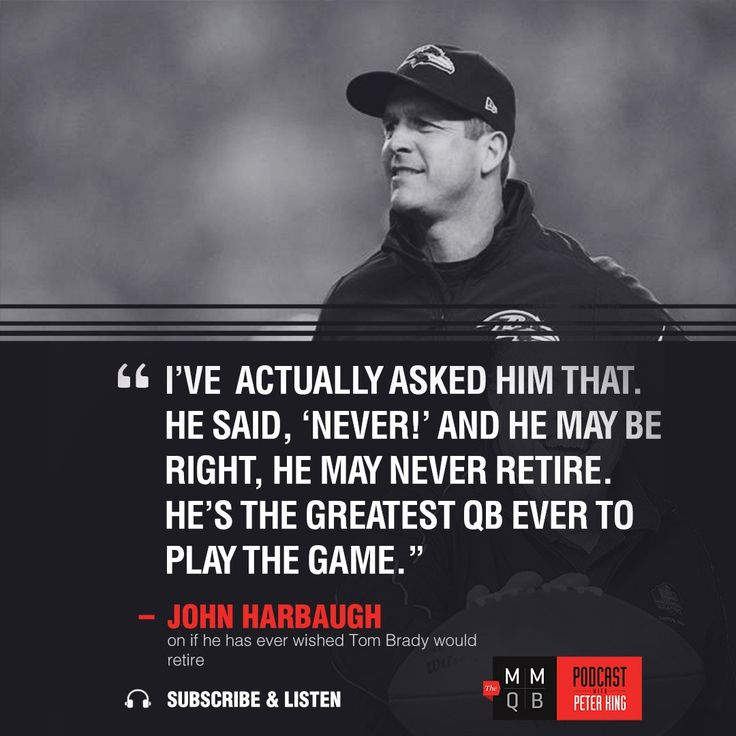 "John Harbaugh on if he ever wished Tom Brady would retire: ""I've actually asked him that. He said 'Never!' and he may be right he may never retire. He's the greatest QB ever to play the game.""  https://twitter.com/theMMQB/status/839487754304114688 Submitted March 08 2017 at 09:49AM by Jux_ via reddit http://ift.tt/2miWCB5"
