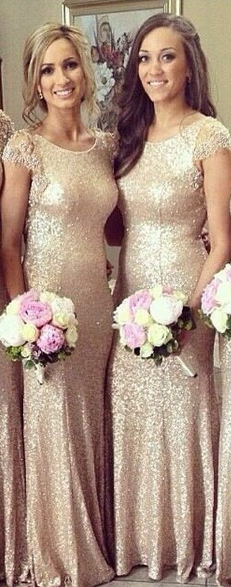 New Fashion Lace Cap Sleeves Sequined Vestido De Noite Dress To Wedding Party Long Gold Bridesmaid Dress
