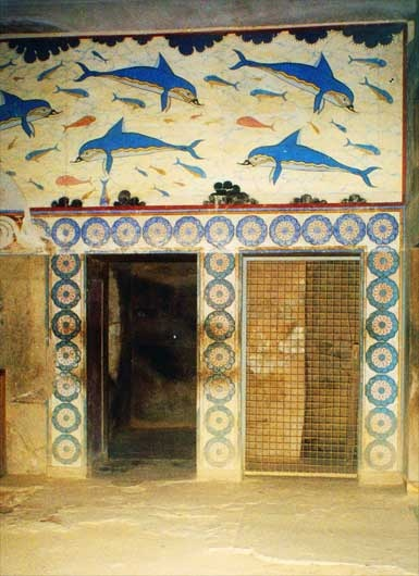 MINOISCHE CULTUUR // Fresco's met dolfynen op het plafond van de ' Troonzaal van de koningin in het paleis van Knossos  -Palace of Knossos, Crete.  I have a piece of concrete with this image on it.