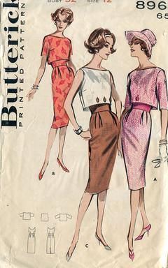 Sewing Patterns,Vintage,Out of Print,Retro,Vogue Simplicity McCall's,Over 7000 - Butterick 8961 Retro 1960's Button Overblouse Dress 32