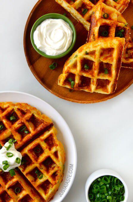 Cheesy Leftover Mashed Potato Waffles recipe on justataste.com