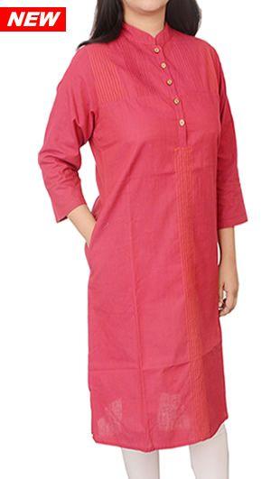 Women Corporate Kurtas, Women Corporate Wear, Womens Wear, Indian Concepts, Dominant Pink Contrast Thread-lines Corporate Kurta