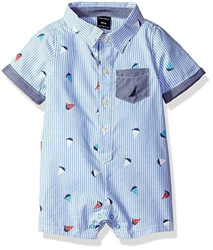9d8f3a871af Nautica Baby Boys  Short Sleeve Button Down Romper