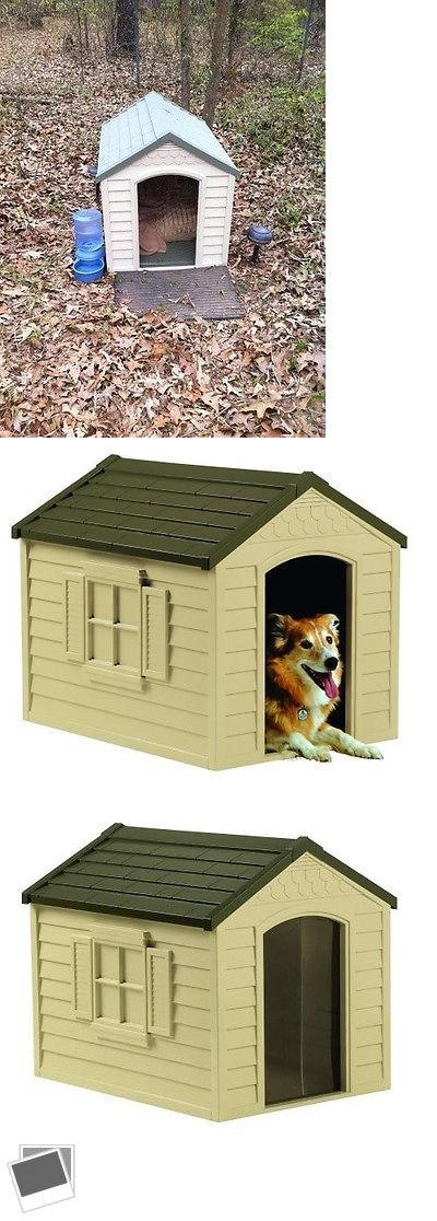 Dog Houses 108884: Outdoor Dog House Large Pet Shelter Durable Resin All Weather Kennel Deluxe Home BUY IT NOW ONLY: $79.99