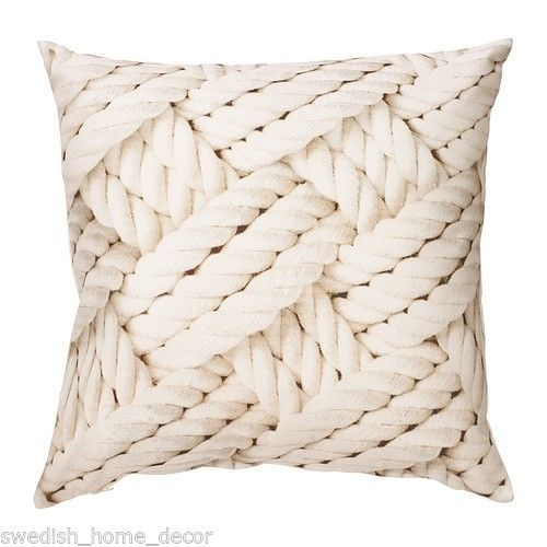 IKEA LISEL Cushion Pillow Cover White Rope Boating Nautical Decor Throw accent Boating, Ropes ...