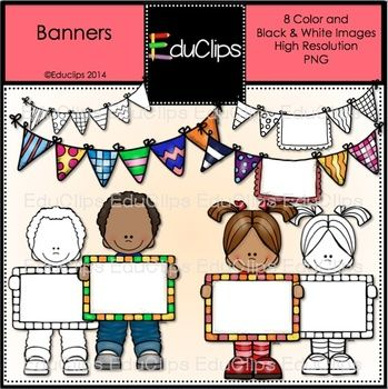 This is a mini set of buntings and children with banners. You can use them to add a splash of color to your documents or letters and write your own message on the children's banners.  This set contains the images shown.  8 images. 4 color and the same 4 in B&W.