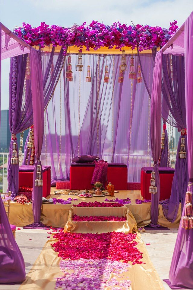 Real Wedding: A Regal Wedding by Sonia Sharma Events | Calligraphy by JenniferDecor, Outdoor Wedding, Ideas, Purple, Hindu Wedding, Colors Schemes, Wedding Mandap, Indian Wedding, Beach Wedding