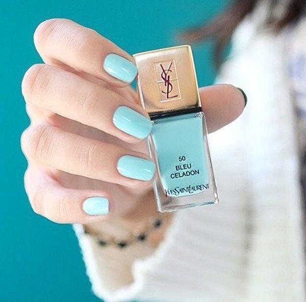 Yves Saint Laurent Bleu Celadon nail polish for a bride's something blue on her wedding day.