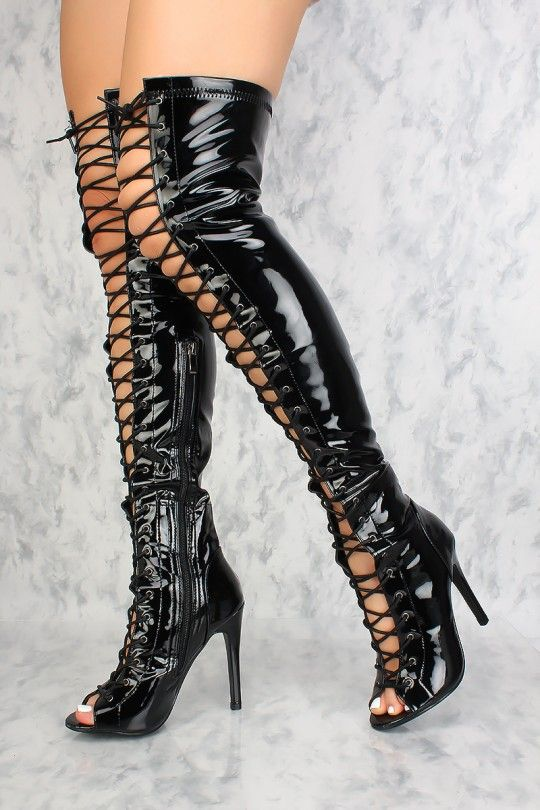 b817eacf59323 Sexy Black Lace Up Open Toe Thigh High Boots Patent
