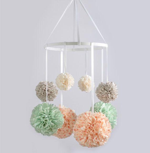 Baby Mobile Nursery MobileCrib Mobile Hanging Pom by MarigoldPoms