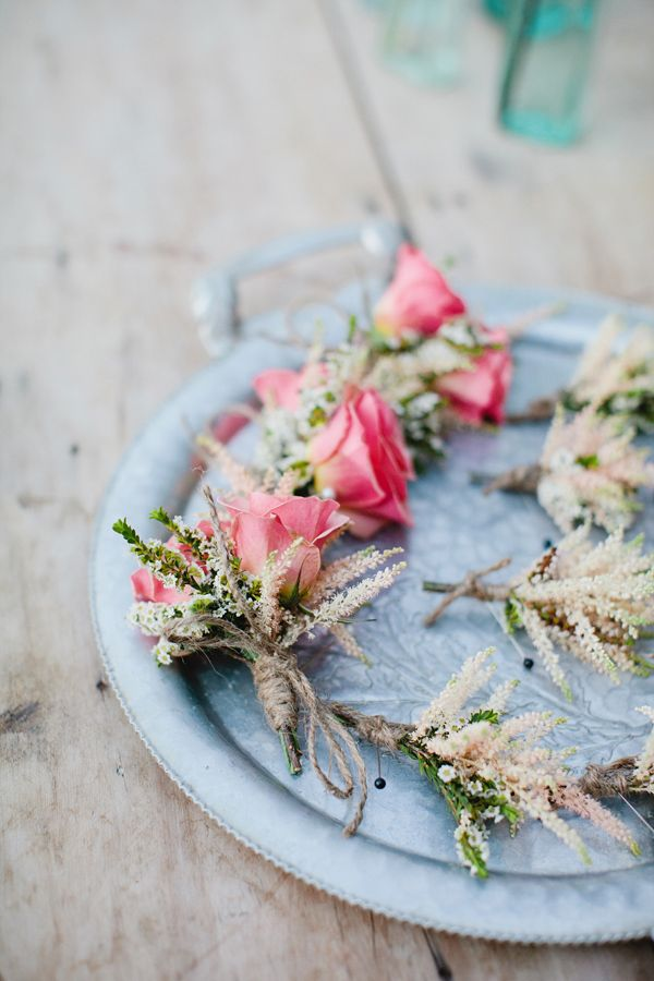 Astilbe + rose boutonnieres.