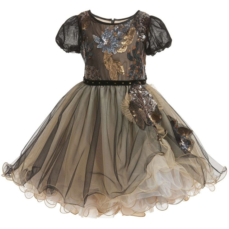 Lesy Black & Gold Tulle Dress with Sequins at Childrensalon.com