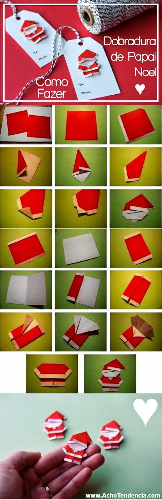 11 Dias pro Natal: Aprenda a fazer um Papai Noel de Origami ♥