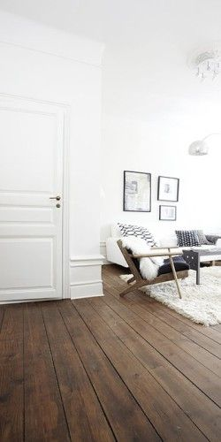 white decor, wooden floorboards