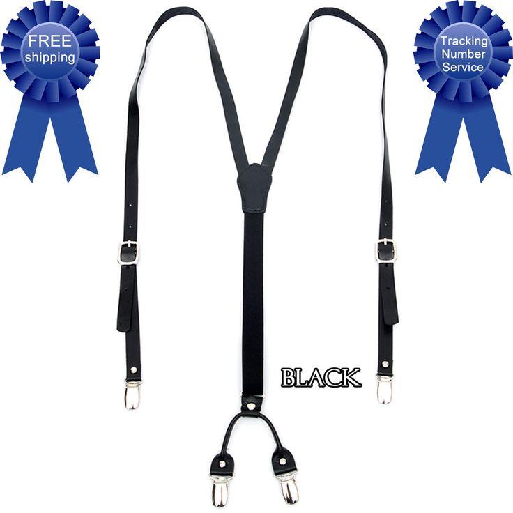 Men Women Genuine Leather Elastic Suspenders Y-Back Adjustable Clip Braces BLACK #springsummerfallwinter