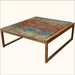 Rustic Primitive Solid Hardwood U0026 Iron Coffee Table