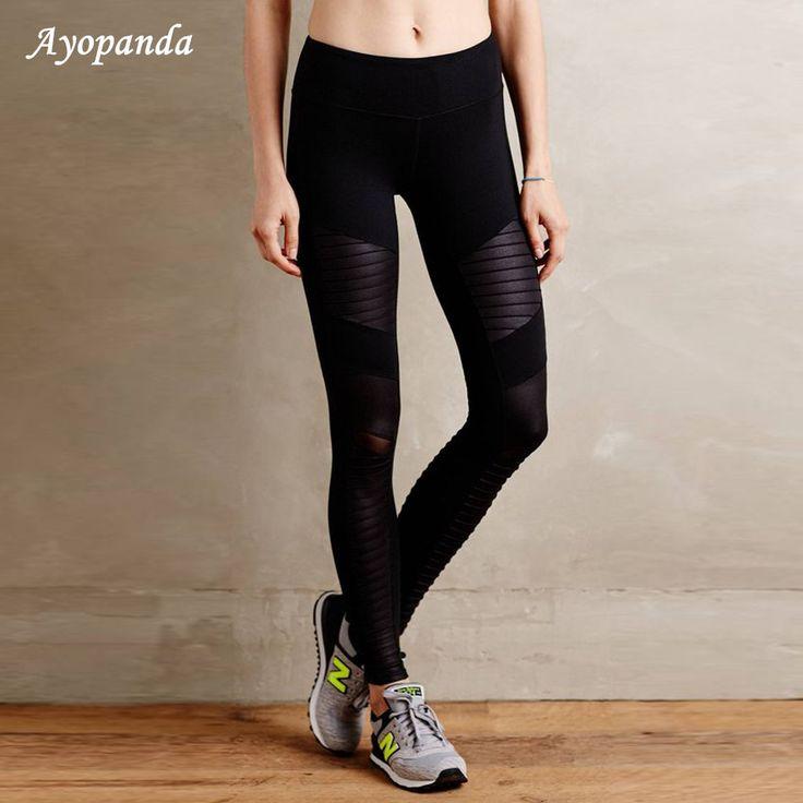 Ayopandaブランド新しい女性ハイウエストmotoスポーツレギンス付きメッシュパネルスーパースター同じスタイルのyogaスポーツアクティブウェア