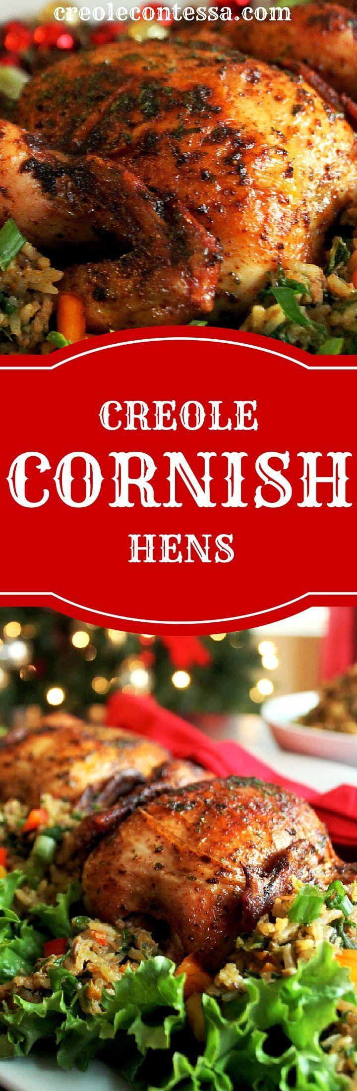 Creole Cornish Hens with Rice Dressing-Creole Contessa #ad #CornishHenHolidays #CollectiveBias