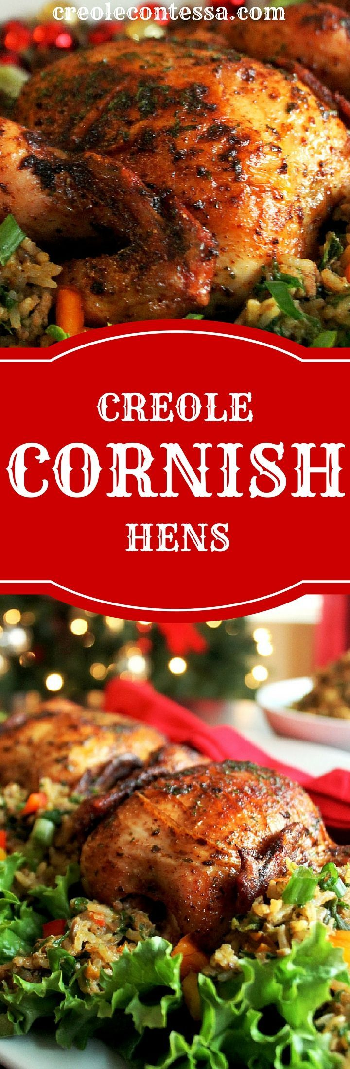 Creole Cornish Hens with Rice Dressing-Creole Contessa #ad #CornishHenHolidays #CollectiveBias