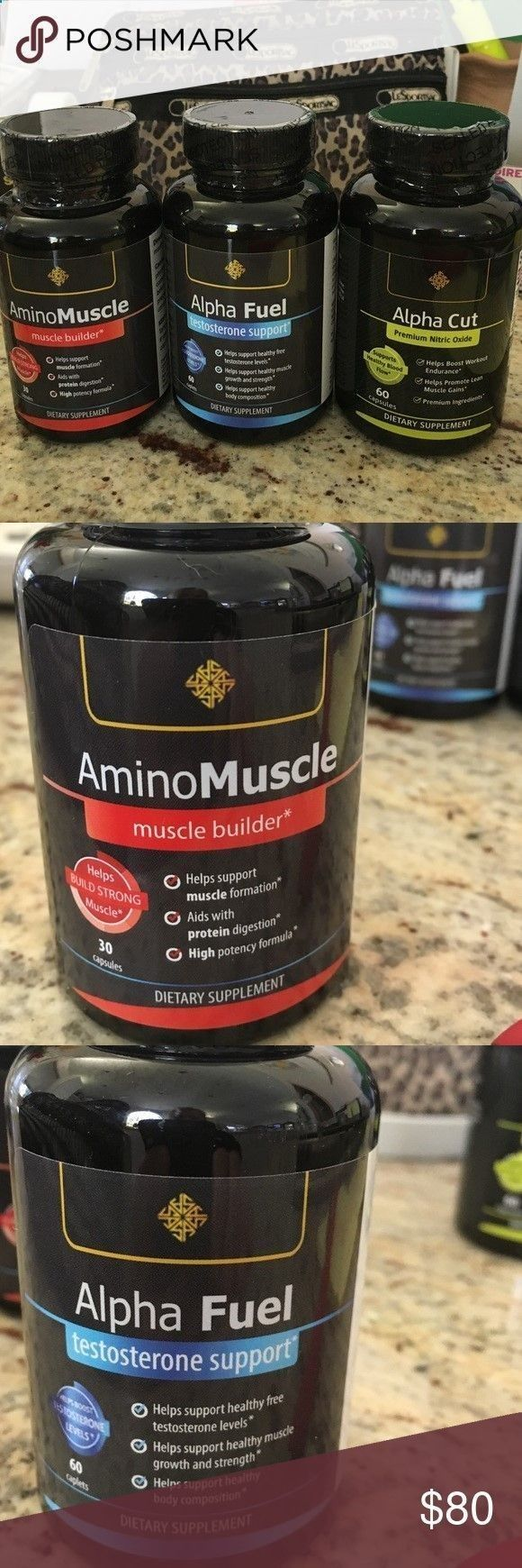 Mens vitamins alpha cut, amino muscle, alpha fuel 3 bottles purchased for $198 and never needed. Great for men who work out. Helps boost workout endurance helps promote lean muscle gains. Helps support healthy free testosterone levels, muscle growth and strength, muscle formation and healthy muscle growth and strength. Just purchased. If u want to reorder after u purchase these and decide u like them the number is on the bottle. Alpha cut, fuel, and aminomuscle Other