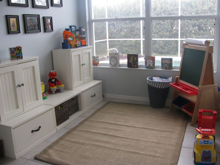 kids playroom organization that this lady built herself! ana-white plans with pottery barn inspiration