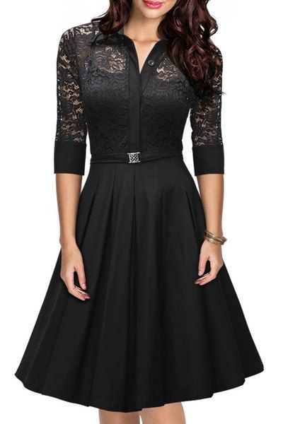 Women's Stylish 3/4 Sleeve Lace Splicing A-Line Dress