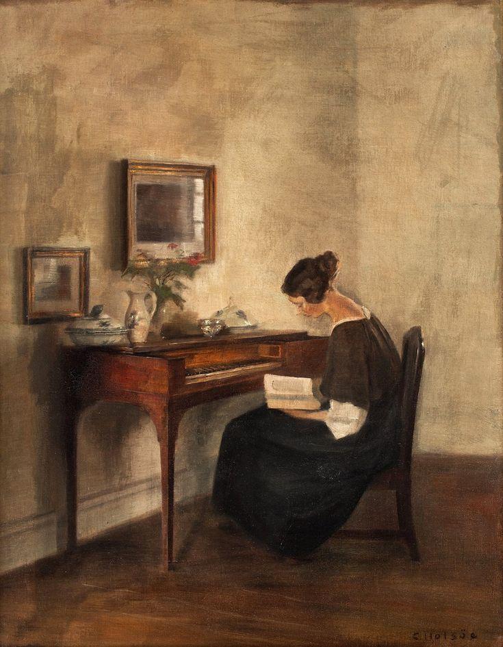 У клавикорда_67,5 x 52.5_х.,м._Частное собрание Карл Вильхельм Холсё (Carl Vilhelm Holsøe), 1863-1935. Дания