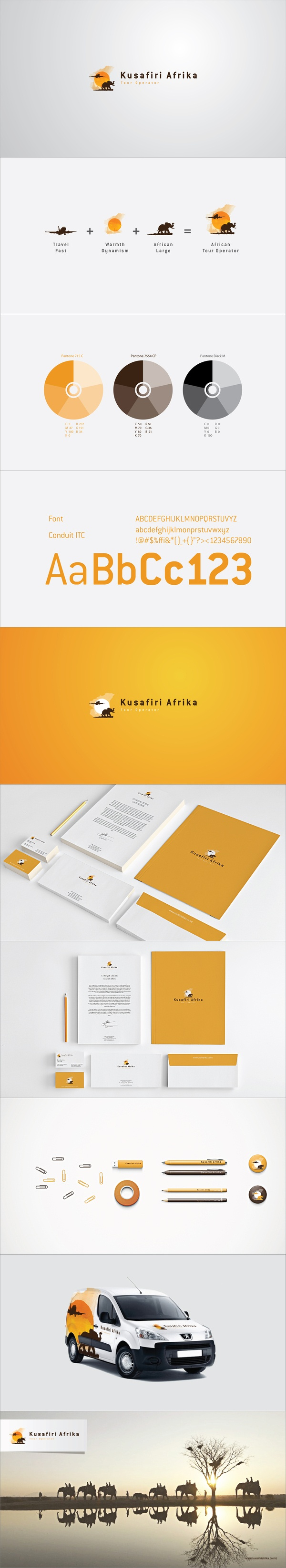 """Kusafiri Afrika is a young and upcoming Mozambican tour operator. Its team is composed by young, dynamic and active professionals who bring personalized tour services to their clients. Kusafiri is a swahili word that means """"to travel"""", thus the logo incorporates both elements from Africa and traveling, to portrait not only the company's name but also their activities and values."""