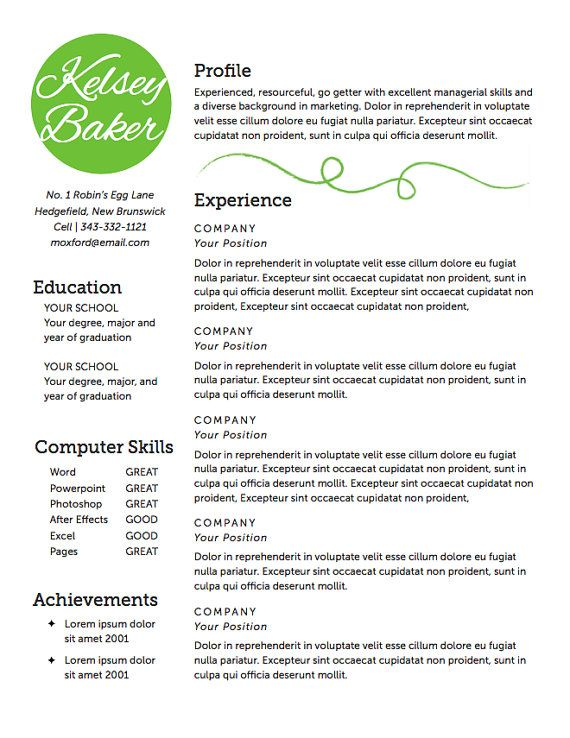 resume template  diy resume  the baker resume design
