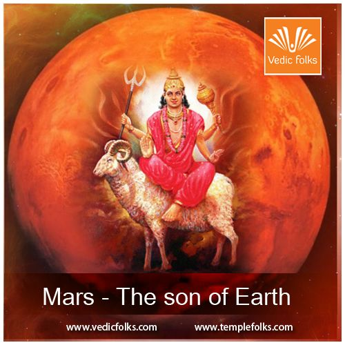 """Mars - The Son of Earth Mars is known as """"Mangal"""" and is known as the son of Earth. Hence he is also called """"Bhoomiputra"""" where """"Bhoomi"""" means earth and """"Putra"""" means son. It is a very fiery planet and rules the signs Aries (Mesh in Jyotish) and Scorpio (Vrishchik) - the 1st and 8th signs of the zodiac. It is very fiery in nature and warlike in nature.  #Mars #Mangal #MarsHomam #Astrology"""