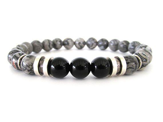 Picture Jasper Men's Bracelet - Men's Bead Bracelet - Men's Jewelry - Gray Bracelet - Stretch Bracelet -  Bracelets for Men - M2830