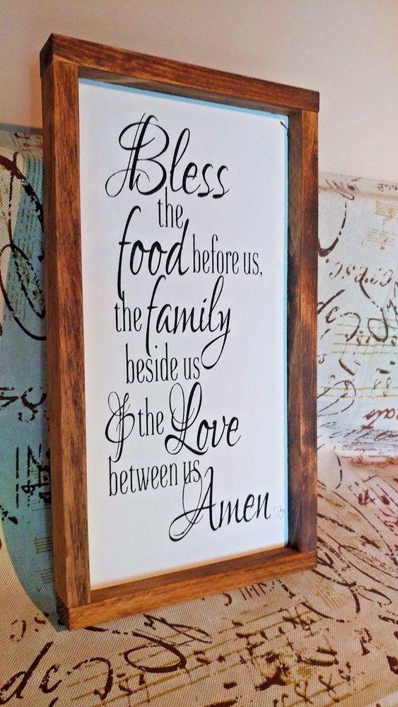 Framed Wood Bless the food family sign farmhouse style Joanna Gaines Decor #Handmade #Farmhouse