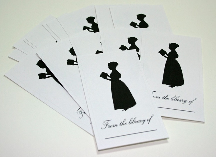Silhouette of Woman Reading Bookplates set of 16. $8.00, via Etsy.