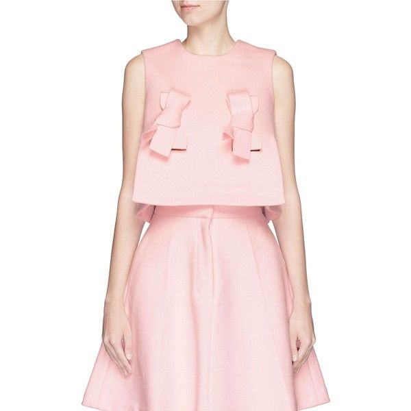 shushu/tong Bow front wool felt cropped top (€325) ❤ liked on Polyvore featuring tops, pink, sleeveless crop top, layered tops, layered crop top, bow top and boxy top