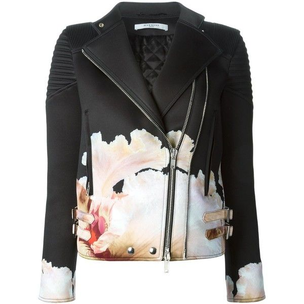 Givenchy floral biker jacket (3,626 CAD) found on Polyvore featuring outerwear, jackets, coats, coats & jackets, tops, black, black biker jacket, straight jacket, floral print jacket and motorcycle jacket