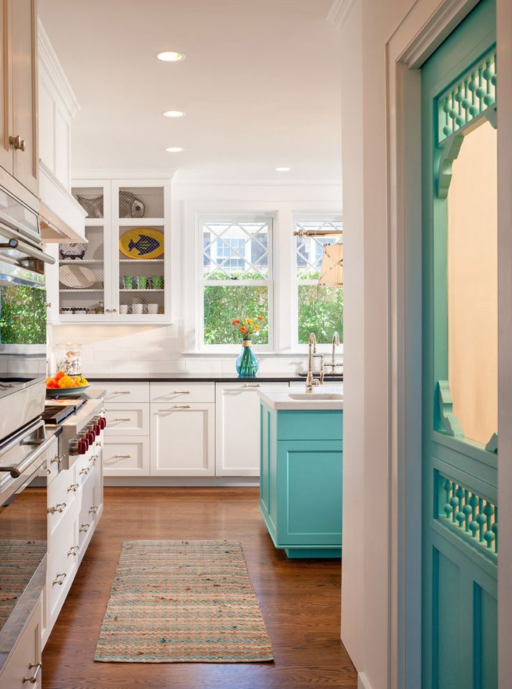 image cool kitchen. Kitchen With Turquoise Pantry Door And Island Image Cool