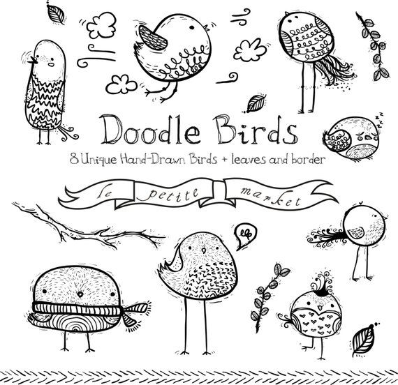 Doodly Bird Clipart Images Cute Bird Drawings Doodle Bird Etsy Bird Doodle Doodle Art Journals Bird Drawings