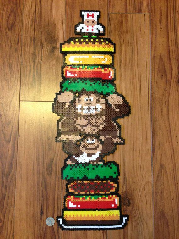 Donkey Kong x Burger Time Perler Bead Art by DJbits on Etsy, $150.00