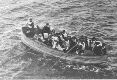 Lifeboat. Photograph above was taken by a passenger of the Carpathia, the ship that received the Titanic's distress signal and came to rescue the survivors.