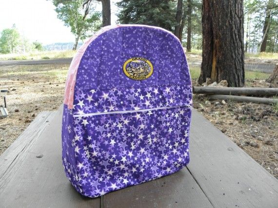 A quilted backpack for my granddaughter, Sarah. I used a basic pattern and modified it with pockets inside and out. She loved it! #crafts #sewing