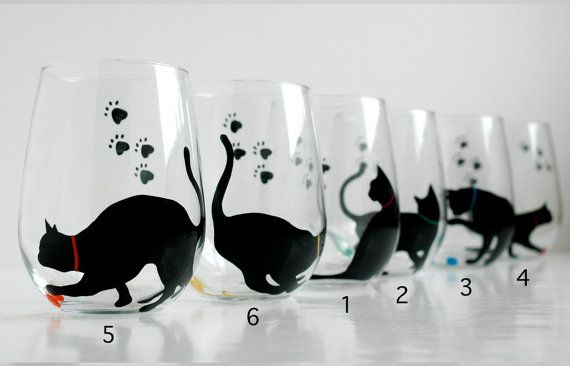Cat and Yarn Stemless Wine Glass by MaryElizabethArts.com $25.00