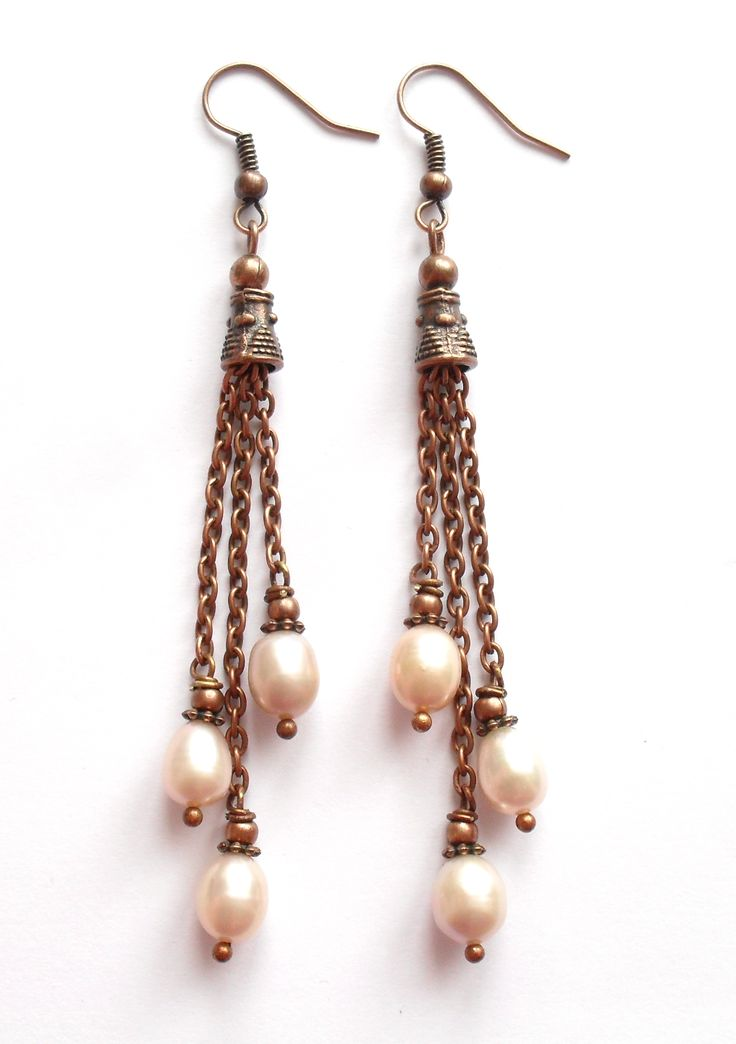 Earrings with freshwater pearls.
