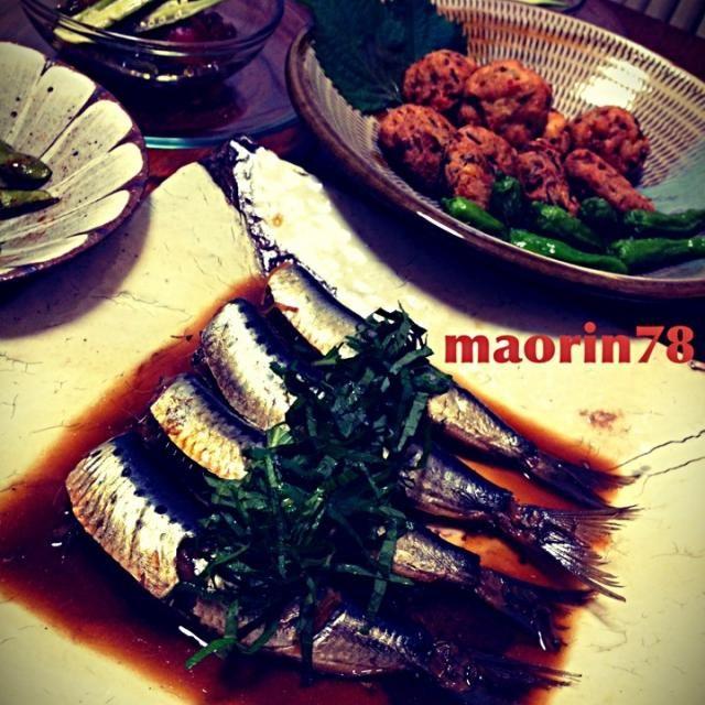 今日の晩ご飯は和食です⭐ (ノ∀`*)ンフフ♪ □イワシの煮付け □海老、三つ葉と     竹の子、椎茸、枝豆のがんもどき □トッシーの枝豆 □真夏のトマトジュレ です(*´∇`)ノ   がんもどきはしょうが醤油であっさり頂きました - 69件のもぐもぐ - イワシの煮付け☆手作りがんもどき   ꒰ღ˘◡˘ற꒱✯*・ by maorin78