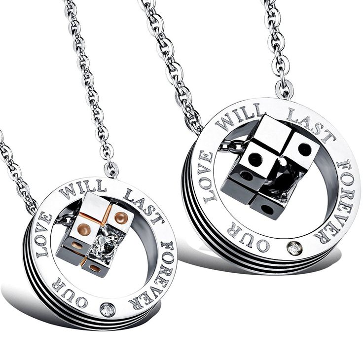 MFYS Jewelry ペアネックレス ファッション メンズ レディース カップル ルービック・キューブ キューブ ペンダント リング ネックレス(チェーン付ペンダント) 【ジュエリーBOX付】